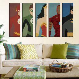 Wholesale Batman Movie Poster - Superhero Movie Poster Superman Batman Oil Painting Canvas Print Cartoon Wall Pictures For Kids Room Home Decor