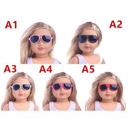 2019 occhiali americani della ragazza 5 Styles Doll Occhiali da sole Modern Fashion Plastic Glasses per 18 pollici American Girl Doll Accessories occhiali americani della ragazza economici