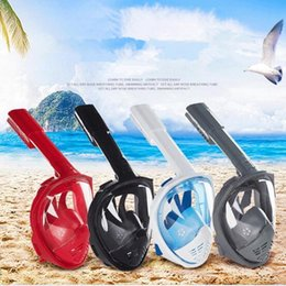 Wholesale Snorkel Tube - 4 Colors Anti Fog Full Face Snorkeling Mask Diving Snorkel 2 In 1 For 180 Degree Free Breath Dive Gear Tube CCA9334 100pcs