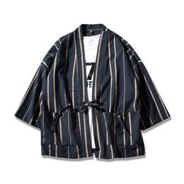 Wholesale Japanese Style Jackets - Helisopus Thin Linen men's Jackets Chinese Style drwastring Stripe Coat Japanese Kimono male male Jacket Open Sititch Jackets