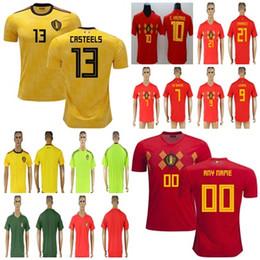 4853cd743 2018 World Cup Belgium Soccer Jersey Men Women Kids 10 E.HAZARD DE BRUYNE  KOMPANY 9 LUKAKU WITSEL FELLAINI Custom Football Shirts