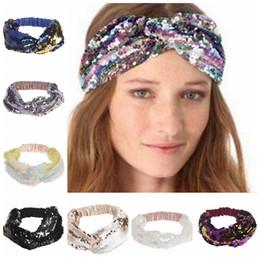 Wholesale embroidered headbands - 9 colors Sequins Mermaid Headbands Reversible Glitter Hairband Bright Shiny Hair Bands Fashion Headwraps Party Bandanas GGA347 30PCS