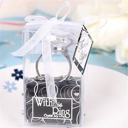 llavero llave de diamante Rebajas '' Con este anillo '' Diamante Llavero Compromiso Favores de la boda y regalos para la boda Compromiso Crystal Key Ring Regalos de la fiesta de Navidad