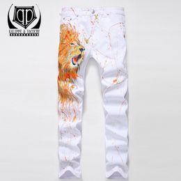 Wholesale Leopard Jeans Men - KALIPPE YACOCHYNew Men 3D leopard printing Nightclubs white Jeans,Famous Brand Fashion Designer Denim Jeans Men,plus-size 28-38