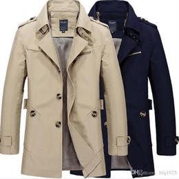 Wholesale trench coat men 4xl - Fashion Stylish Men's Trench Coat 2017 Spring Men Vintage Military Coat Long Slim Man Trench Jackets Free Shipping