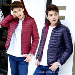 Wholesale Duck Collection - Cockscomb Brand Reversible Wear Lightweight Down Jacket Men Stand Collar Thin Down Coat Outerwear 2017 New Autumn Collection
