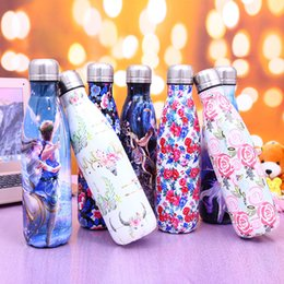 Wholesale Thermos Warmer - 500ML cola shape water bottles stainless steel rose flower pattern Thermos water cups 7 colors camping hiking water flask