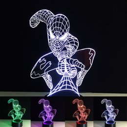 3D Spiderman Optical Night Light 7 RGB Lights DC 5V USB Powered with AA Battery Bin Factory desde fabricantes