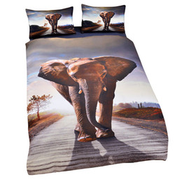 Wholesale Wolf 3d Bedding - 3D Animal Design Bedding Set Of 3PC Owl Wolf Elephant Duvet Cover Set Quilt Cover With Pillowcase Twin Full Queen King Size 7 Designs