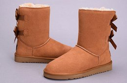 Wholesale Leather Ladies Boots - WGG New High Quality Women Australia Classic tall Boots lady girl boots Boot black chestnut Snow Winter boots leather shoes Eur 36-41