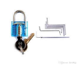 Argentina ¡Caliente! Nuevo Cerrajero Herramientas Profesionales Conjunto Azul Mini Candado de Selección Transparente + 5 unids Llave de Cerrajería Herramienta de Tensión Cerrajero de Suministro Suministro