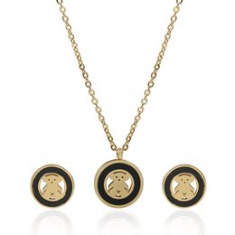 Wholesale Bear Jewelry Men - TL Charm Gold Silver Filled Stainless Steel Bear Jewelry Set Link Chain Necklace Jewelry Set For Women Gift & Men Gift