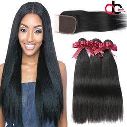 Wholesale Light Brown Human Hair Weave - Straight Hair Bundles With Closure 3 Bundles Grade 9A Brazilian Hair Straight 4X4 Lace Closure With Bundles Brazilian Human Hair Weaves