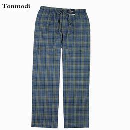 Wholesale plaid flannel pants - Men's pajamas Pants Trousers Cotton Flat woven flannel Sleep Bottoms European size Large 3XL