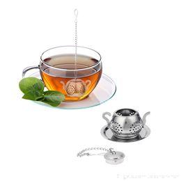 Infusor de teteras de acero inoxidable online-Acero inoxidable Infusor de té Bandeja de tetera Especias Colador de té Herbal Filtro Teaware Accesorios Herramientas de cocina Infusor de té