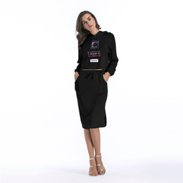 Wholesale Ladies Knit Suits Dresses - New Fashion Women Bodycon Dress Priting Knitted Long Sleeves Top with Skirt Slim Fit Knee Length Lady Dress Suit