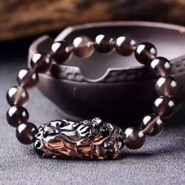 Китайские каменные браслеты онлайн-Natural Obsidian Crystal Icy Black stone  Bracelet Chinese Dragon Pixiu