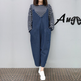 26925e32d13 Street Style V-neck Large Pocket Women Loose Suspender Long Pants Slim  Comfortable Jeans Overalls High Quality Denim Jumpsuits