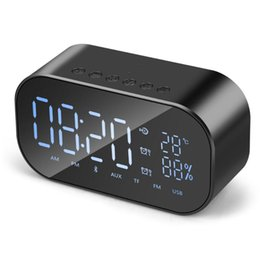 Wholesale Player Alarm - S2 V9 Portable Bluetooth Speaker Support Temperature LCD Display FM Radio Alarm Clock Wireless Stereo Subwoofer Music Player
