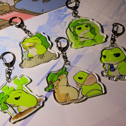 Wholesale Key Chain Frog - Cartoon Travel Frog Keychain Acrylic Key Chains Keyring Women Men Cars Bags Pendant Mobile Phone Accessories 42