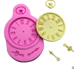 Wholesale Polymer Shapes - Clock shape Silicone Mold for cake Decorations tools Fondant Polymer Clay Resin Candy Fimo Super Sculpey