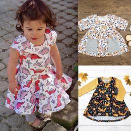 Wholesale Girl Hedgehog - Baby girls dinosaur Hedgehog dress INS Children fox print princess dresses 2018 new summer kids Boutique clothing 3 styles C3511