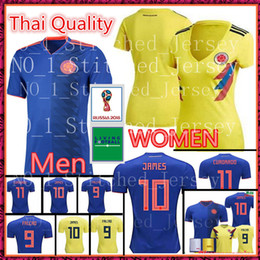 Wholesale colombia shorts - Colombia 2018 world cup soccer Jersey Colombia Home Men WOMEN Soccer shirt 2018 world cup BACCA FALCAO Thai Football uniform
