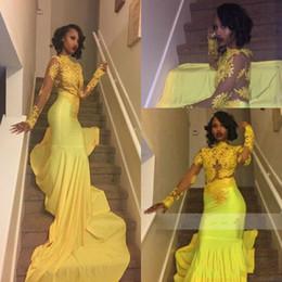 Vestido de baile de renda de renda chiffon amarelo on-line-Sexy Amarelo Sereia Manga Longa Vestidos de Noite Ilusão Sheer Lace Arábia Saudita Africano 2018 Festa Vestidos de Baile Pageant Vestido Robe De Soiree