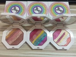 Wholesale Rainbow Full - Fenty Beauty by Rihanna Unicorn Rainbow powder Highlighters Beauty long lasting natural eyeshadow powder 3 Colors eye shadow blusher DHL