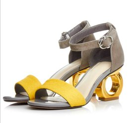 Wholesale leopard gladiators - Ankle Strap Yellow Sandals Woman Leopard Party Shoes Gold Cut Out Strange Heeled Sandals Peep Toe Horse Hair Suede Summer Shoes