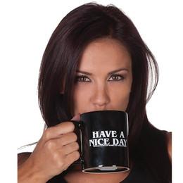 Regalos divertidos de cafe online-Creative Transhome Creative Have A Nice Day Coffee Mug 350ml Divertidas tazas y tazas de dedo medio para café Té Leche Novedad Regalos de cumpleaños