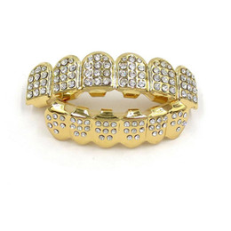 Wholesale iced face - Gold Color Iced Out Teeth Grin Top Bottom Bling Men Women Jewelry New