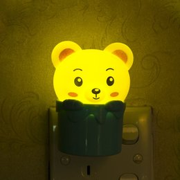Wholesale small plugging lamp - EU Plug LED Night light AC 220V Light Sensor Lovely small bear rabbit lamp bedside kawaii night lamp for Baby Bedroom IL
