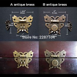 Wholesale Wooden Box Lock Wholesale - Decor Antique Brass Vintage Jewelry Chest Wooden Gift Box Case furniture Leather Bag Hasp Latch Toggle Lock Clasp Butterfly