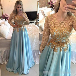 a394905ddf05 2018 New Design Prom Evening Dresses Gold Lace Appliques Long Sleeves Satin  Ruched Formal Party Gowns Custom Made one piece gown design short deals