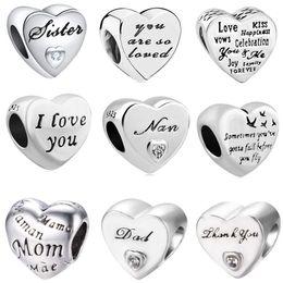97d8d6b69 2018 new free shipping european 1pc 925 silver heart i love you nan mom  sister dad diy bead fit pandora charm bracelet D044