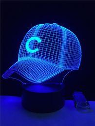 Wholesale Angels Baseball Caps - Baseball Cap 3D Night Lights Touch USB Table Lampara Lampe Baby Sleeping Night light Carfrul USB Dest Lamp For Kids Gift