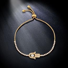 Wholesale Hand Bracelet For Women - whole saleFLOLA New Fashion CZ Fatima Hand Bracelet Charms Paved Cubic Zircon Bracelet for Women Gifts Gold Jewelry brtk45