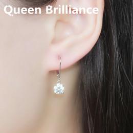 quilate diamante 18k Rebajas 18K 750 oro blanco 2 CTW 1 quilate 6,5 mm por cada PC High End F Color Lab Grown Moissanite pendientes de diamante para mujeres