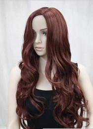 2019 lunghe boccioline di parrucche auburn Spedizione gratuita ++++ Nuovo sexy no bangs rosso auburn lungo lato ondulato parte superiore della pelle parrucca donna sintetica sconti lunghe boccioline di parrucche auburn