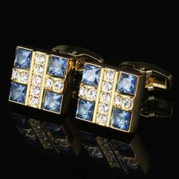 Camisas de hombre de negocios de boda online-Blue Crystal Shirt Gold Men's Cuff Necklace Boda Gemelos Gemelos de negocios europeos y americanos Envío gratuito