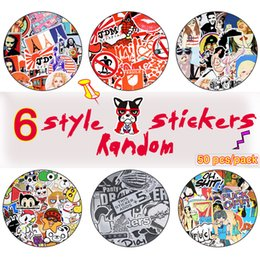 Wholesale Toy Motorcycle Wholesale - 50PCS Hot Sale Random Stickers Poster Wall Blackboard Stickers for Luggage Motorcycle 6 Styling Toy Sticker for Guitar Laptop Skateboard DIY