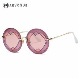 2019 дизайнер в форме сердца солнцезащитные очки AEVOGUE солнцезащитные очки женщин круглая рамка сердце-образный объектив бренд дизайнер моды оттенки солнцезащитные очки UV400 AE0552 дешево дизайнер в форме сердца солнцезащитные очки