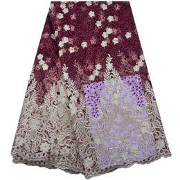 Nigerian Tulle Lace Fabrics 2018 Elegance Wine tela de encaje rojo africano, alta calidad French Mesh Lace Fabric A1286 desde fabricantes