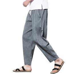 mens moda calças de linho Desconto NOVA Moda Plus Size Coon Linen Harem Pants Calças Dos Homens 2018 Calça Casual Masculina de Verão Calças de Trilha