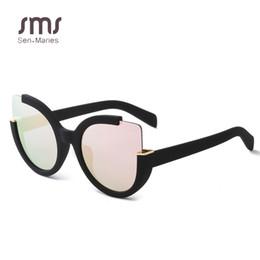 Wholesale Round Cateye Sunglasses - Round Shades Fashion Half Frame Cateye Sunglasses Women Summer Vintage Brand Designer Ladies Eyewear Gafas de sol Oculos UV400