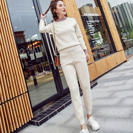 455718eb13 Autumn 2 Pieces Set Knitted Pullovers Sweater   Elastic Waist Pencil Pants Suits  Winter Women Tracksuits Casual Pockets Outfits