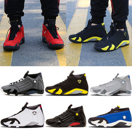 Wholesale Cheap Black Men Boots - Hot 2018 cheap shoes 14s trainers basketball shoes last shot black toe thunder gs red suede Varsity Red Oxidized Sport sneaker boot
