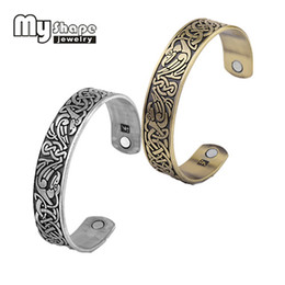 Wholesale Wholesale Magnetic Health Jewelry - whole salemy shape Original design Phoenix totem Cuff Bracelet Magnetic Holder Inside jewelry for health care Body Fitness Christmas Gift