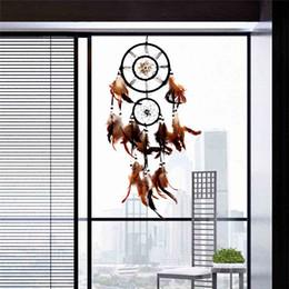 Wholesale Artigianato di piume Dream Catcher Brown Wind Chimes Handmade Dreamcatcher Net per appendere a parete Car Home Decoration Holiday Gift